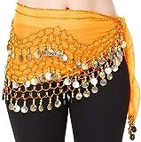 - Hoter pañuelo de gasa con monedas doradas colgando para danza del vientre, a...