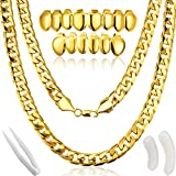 Disfraz de Rapero de Hip Hop, Collar de Cadena de Oro Falso Collar Grueso con...