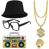 SPECOOL Kit de Disfraces de Hip Hop 90's 80's Rapero Accesorios Sombrero del...