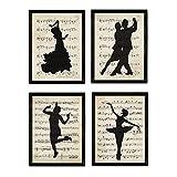 Nacnic Set de 4 láminas de Baile con partituras. Ballet,Tango.Tamaño A4. Sin...