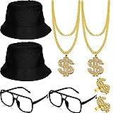 Conjunto de Accesorios de Disfraz de Rapero Hip Hop Sombrero de Cubo Gafas de...