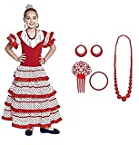 Vestido Sevillanas Niña con Accesorios Flamenca Peineta Collar Pulsera Rojo...