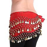 LQZ(TM) cinturón de seda para danza del vientre, para mujer o niña rojo...